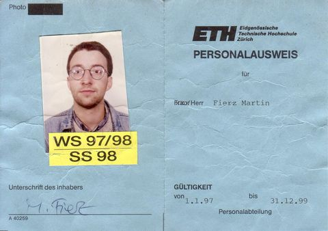 My Personalausweis as PhD student at ETH, 1996