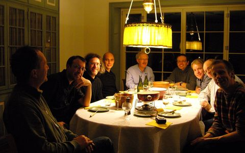 Enjoying fondue with the ex-PhD-student gang; from left to right: Konstantin Siegmann, myself, Johannes Paul, Alejandro Keller, Heinz Burtscher, Christoph Hüglin, Harald Hepp, Karl Przybilla and Ernest Weingartner